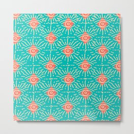 Dainty All Seeing Eye Pattern in Coral Metal Print