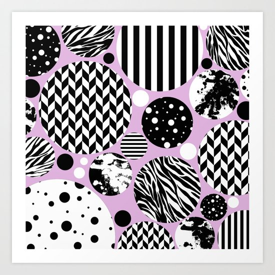 Eclectic Black And White Circles On Pastel Pink Art Print