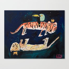 Tiger, Cheetah, Toucan Painting Canvas Print