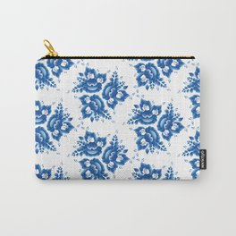 Vintage shabby Chic Seamless pattern with blue flowers and leaves. Vector Carry-All Pouch