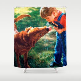 A Boy and his Dog Water Hose Thirst Colorful Shower Curtain