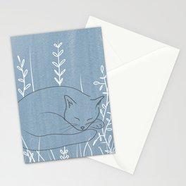 Sleepy Cat - Botanical Blue Stationery Cards