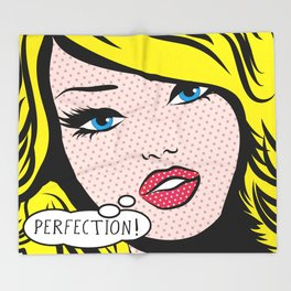 Perfection Pop Art Girl Throw Blanket