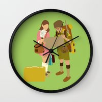 moonrise kingdom Wall Clocks featuring moonrise kingdom by Live It Up