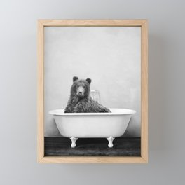 Brown Bear Bathtub Framed Mini Art Print