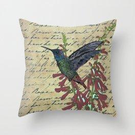 Hummingbird with Fire Flower Throw Pillow