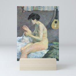 "Paul Gauguin - Study of a nude ""suzanne sewing"" (1880) Mini Art Print"