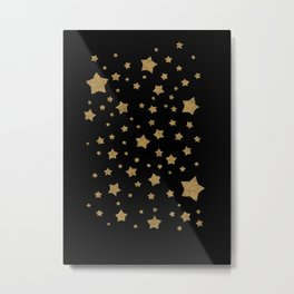 Gold Stars on Black Metal Print