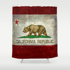 California Republic state flag Vintage Shower Curtain