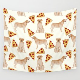 yellow lab pizza cute funny dog breed pet pattern labrador retriever Wall Tapestry