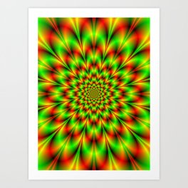 Rosette in Green and Red Art Print
