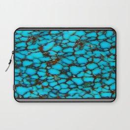 Western Turquoise Blue-Black Spider Web Turquoise Gemstone Laptop Sleeve