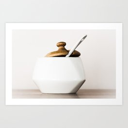 White ceramic sugar cup Art Print