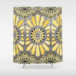 Sunny Yellow Radiant Watercolor Pattern Shower Curtain