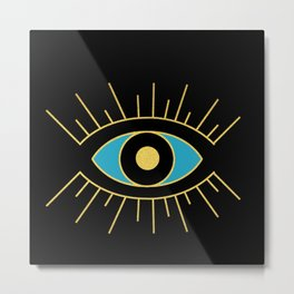 Black and Teal Evil Eye Metal Print