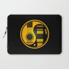 Yellow and Black Acoustic Electric Yin Yang Guitars Laptop Sleeve
