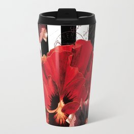 Black Stripes and Flowers  Travel Mug