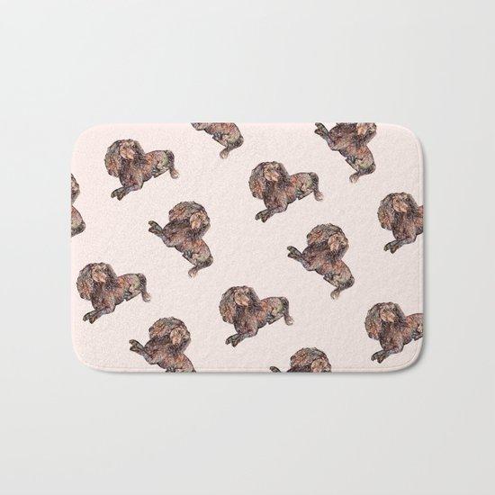 Dog Pattern 2 on Girly Pink Bath Mat