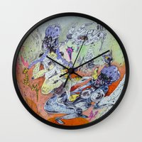 best friends Wall Clocks featuring best friends by Kira Leigh