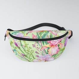 Pastel Pink & Lilac Iris Floral Pattern With Butterflies Fanny Pack