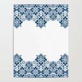 Blue lace on white background . Poster