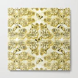 Succulent Motif and Butterfly # Yellow Ochre Metal Print