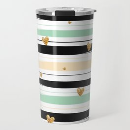 Handmade colorful stripes with gold hearts pattern Travel Mug