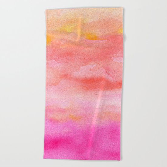 Bright pink orange sunset watercolor hand painted Beach Towel