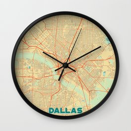 Dallas Map Retro Wall Clock