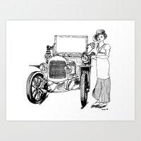 Car and woman.  Art Print