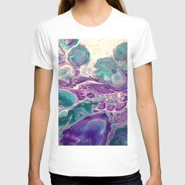 Lilies On A Purple Pond - Abstract Acrylic Art by Fluid Nature T-shirt
