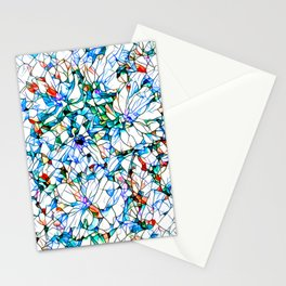 Glass stain mosaic 3 floral - by Brian Vegas Stationery Cards