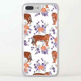Tigers orange and purple clemson football varsity university college sports fan gifts Clear iPhone Case
