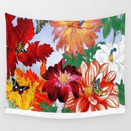 Dazzlin' Dahlias, Tulips, B'flies Wall Tapestry