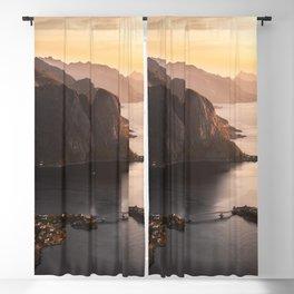 Sunrise and Mountains, Lofoten Islands Norway.  Blackout Curtain