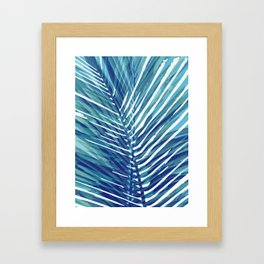 Abstract Palm Leaves | Blue Framed Art Print