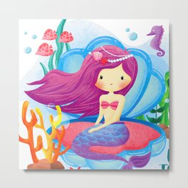 colorful mermaid Metal Print