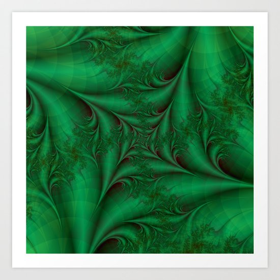 Green Square Spiral Art Print
