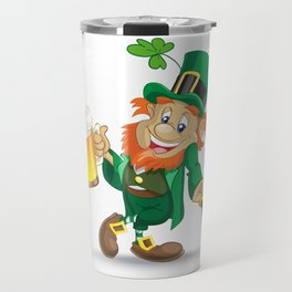 St Patrick leprechaun with cup of beer and cane Travel Mug