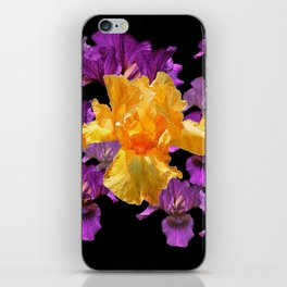 LILAC PURPLE & GOLDEN IRIS ART PATTERN BLACK DESIGN iPhone Skin