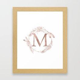Letter M Rose Gold Pink Initial Monogram Framed Art Print