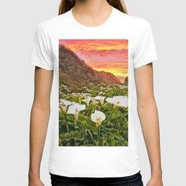 'Calla Lily Sunrise at Big Sur' Portrait Painting by Jeanpaul Ferro T-shirt