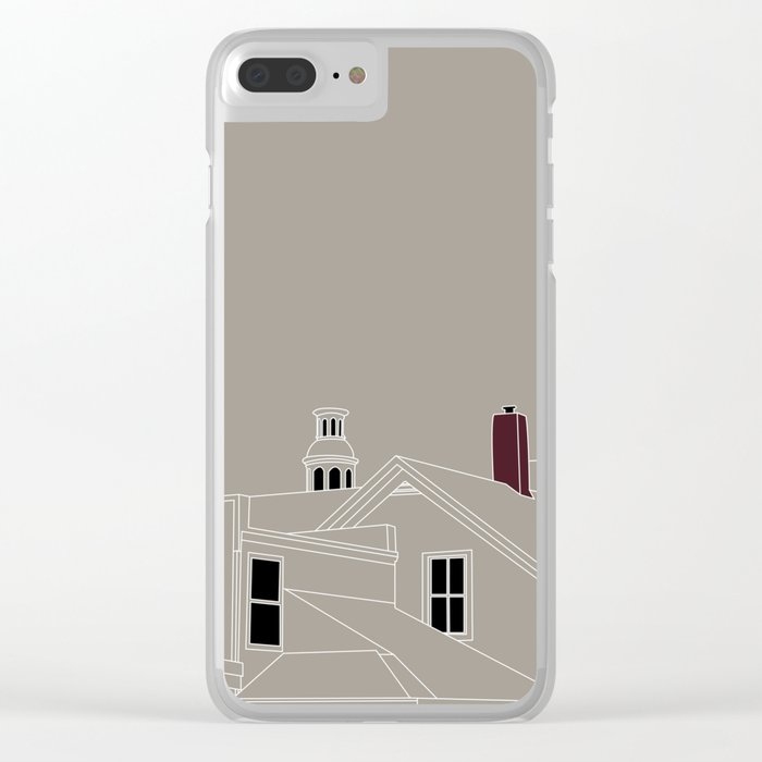 Cityscape Urban Illustration in Warm Grey Clear iPhone Case