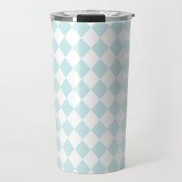 Blue Lily Modern Diamond Pattern on White Travel Mug