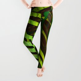 TROPICAL GREENERY LEAVES no8a Leggings