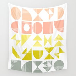 Organic Abstract Shapes in Soft Pastel Colors Wall Tapestry