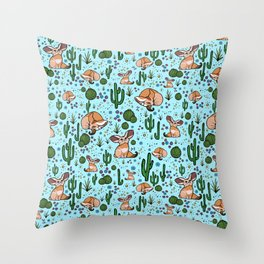 Fennec Foxes in Blue Throw Pillow