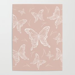 Butterflies on peach background Poster
