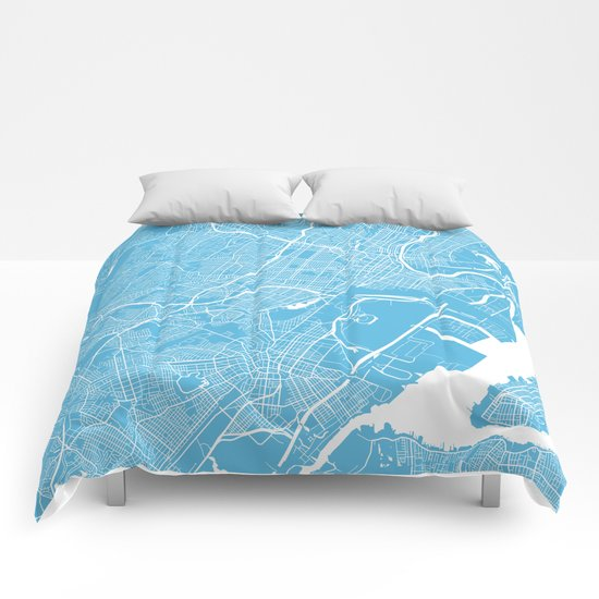Newark map blue Comforters
