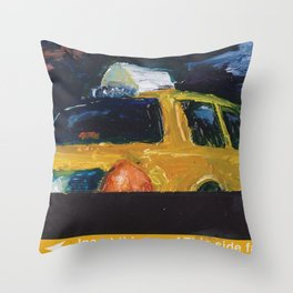 Subway Card NYC Taxi Painting Throw Pillow
